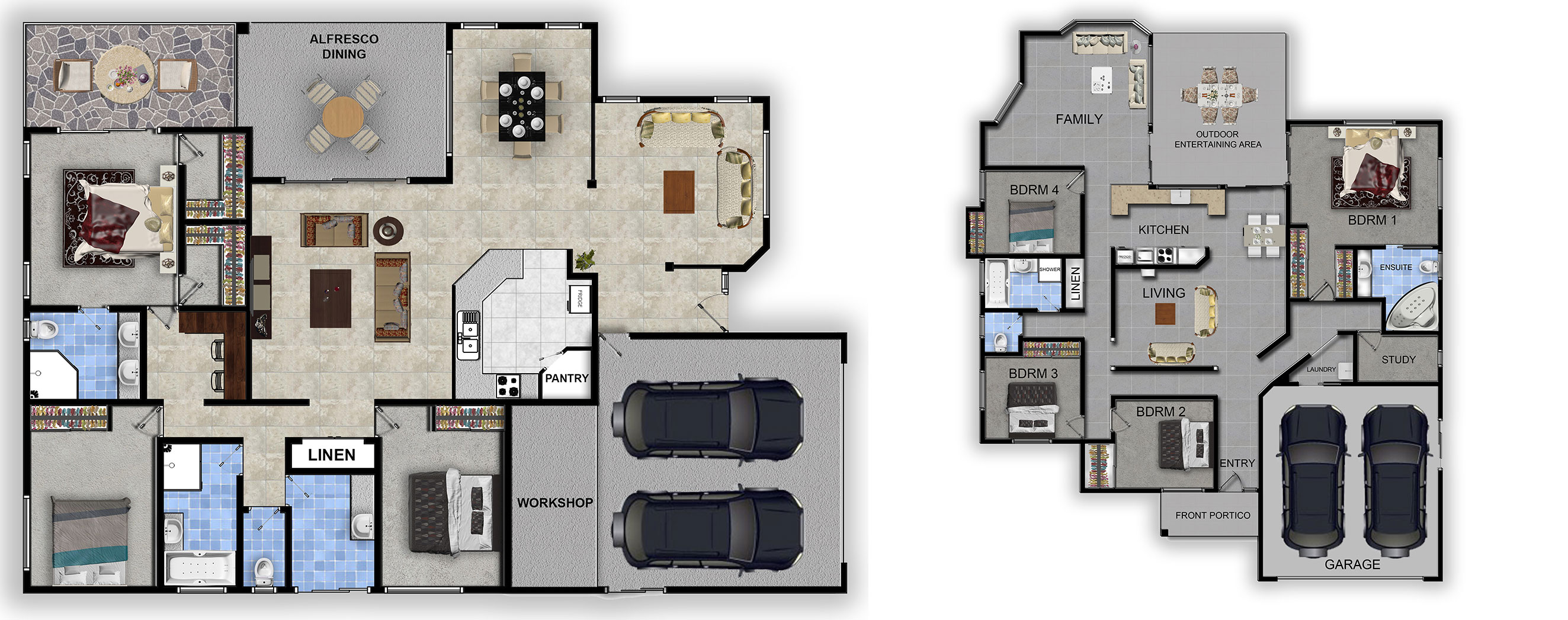 Textured and Coloured Floor Plan